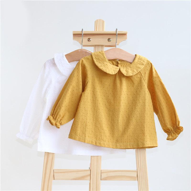 Algodón de los bebés camisa de la blusa de manga larga del resorte del otoño niños Tops Trajes camisa sólida para chicas niños ropa informal para niños pequeños