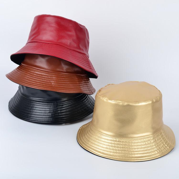Bucket Chapeaux Faux cuir Chapeau double face Chapeau PUCOTTON massif Mode Femmes Seau Cap Panama Pêcheur Cap