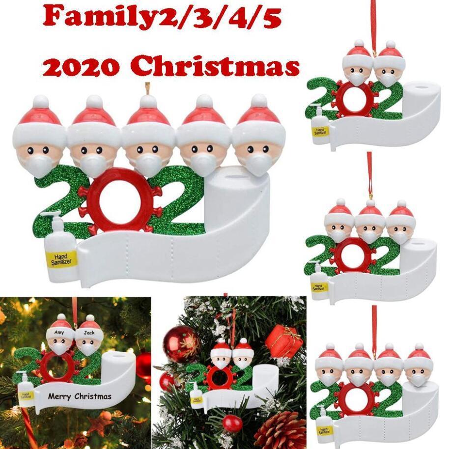 2020 Новогодние украшения изображения для рождественских деревьев смолы безделушки украшения с ручными санитарными карантинами сувениры