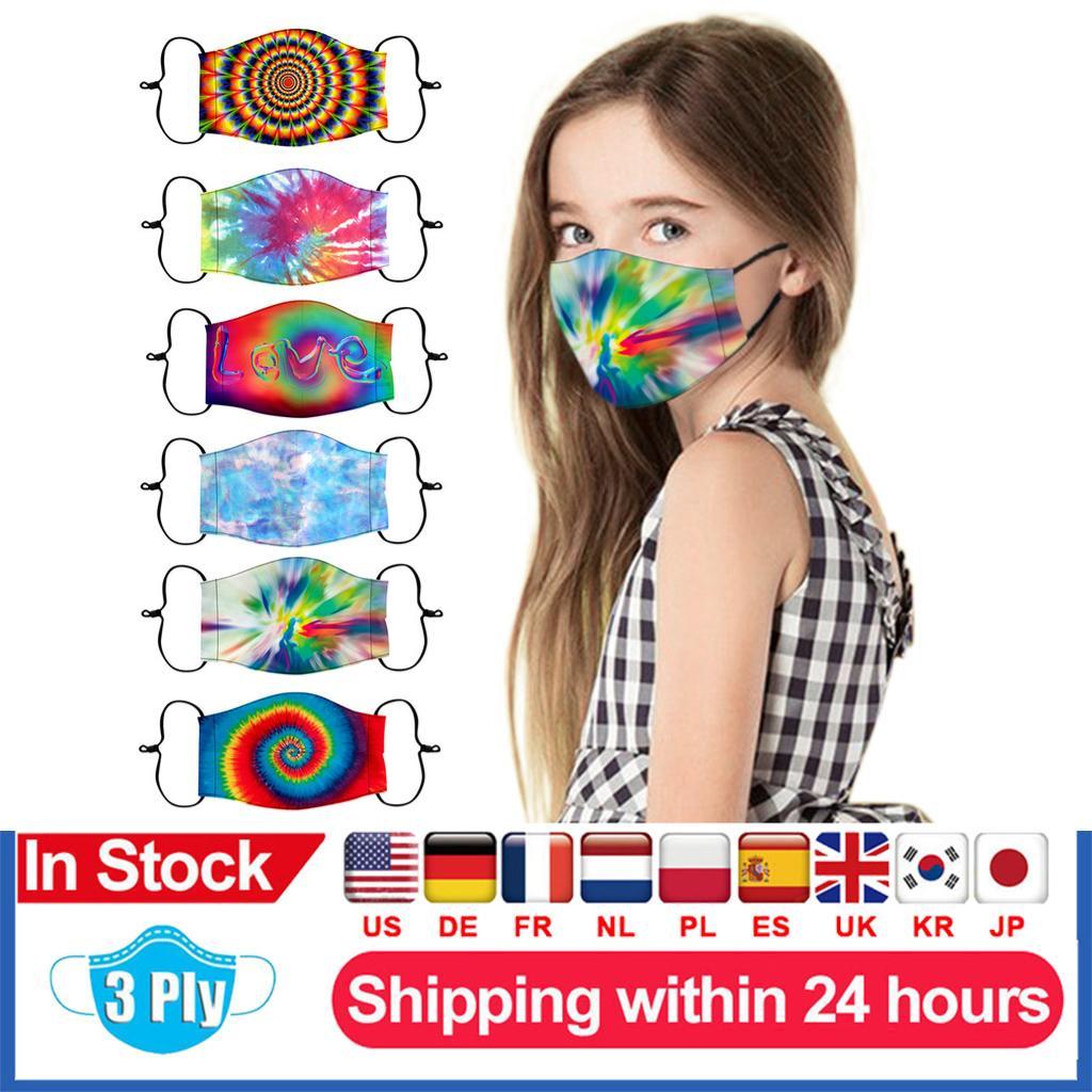 En stock Camiseta Cara Máscara niños teñido Máscaras del diseñador reutilizable lavable Protección facial mascarillas