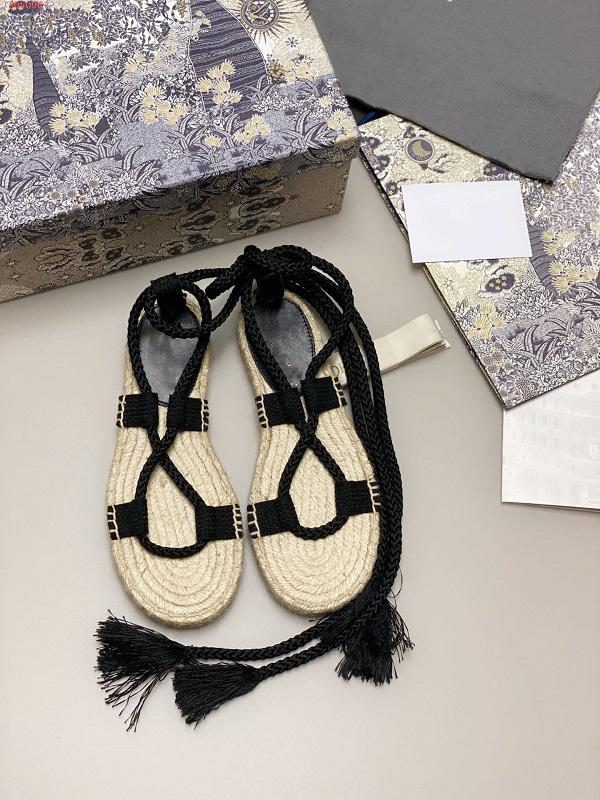 2020 best-selling show women Granville espadrille in Oblique Embroidered Cotton, lace-up sandals Rope wedge and thin rubber sole Flat shoes