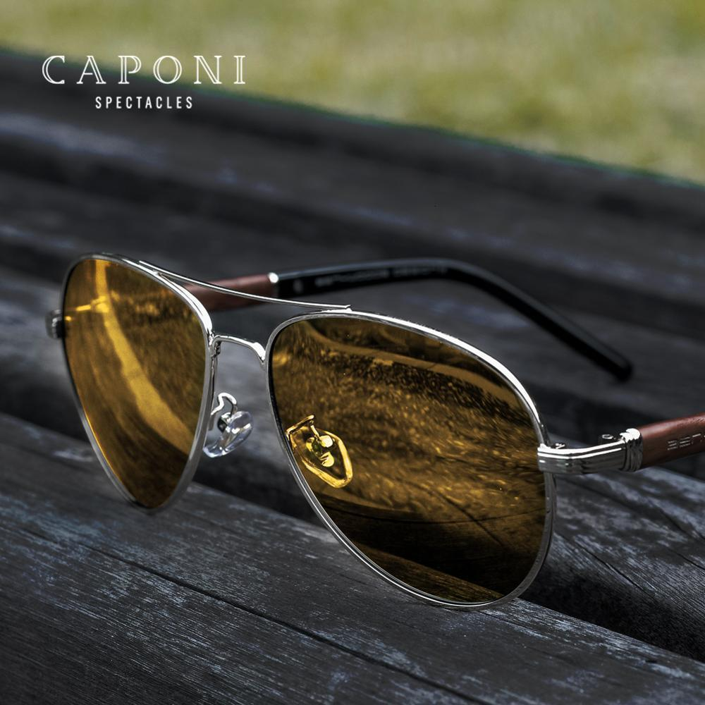 CAPONI 2020 Safety Driving Sunglasses Men Day And Night Vision Photochromic Sun Glsses For Business Man Wooden Frames BSYS409