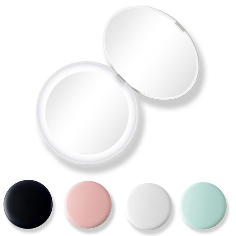 Four Color 10X lupa LED iluminado Mini Rodada Maquiagem Espelho Compact Viagem portátil Maquiagem Sensing Iluminação Espelho Maquiagem Ferramenta