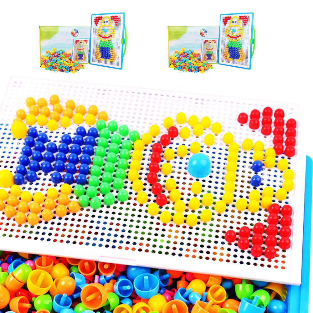 300/600pcs Children Intellectual Toys Educational Mushroom Nail Kit Toys For Kids Gifts DIY Mosaic Picture Puzzle Toys MX200414