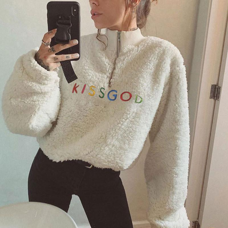 free shipping 2020 new Women Warm Lamp Sweater Long Sleeve High Collar Zipper Front Top with Adjustable Inner Drawstring Waist
