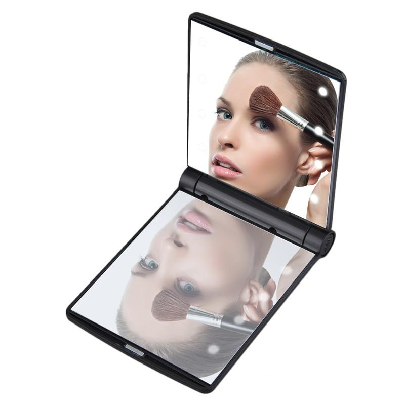 Lady's Makeup Mirror Cosmetic LED Mirrors 8 LED Lights Lamps Folding Portable Compact Pocket Mirror Hot Sale Make up Tools