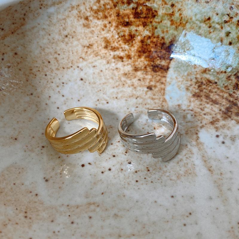 Amaiyllis 925 Personalidad plata esterlina anillo abierto minimalista de moda patrón irregular de joyas de moda para las mujeres Anillo regalo
