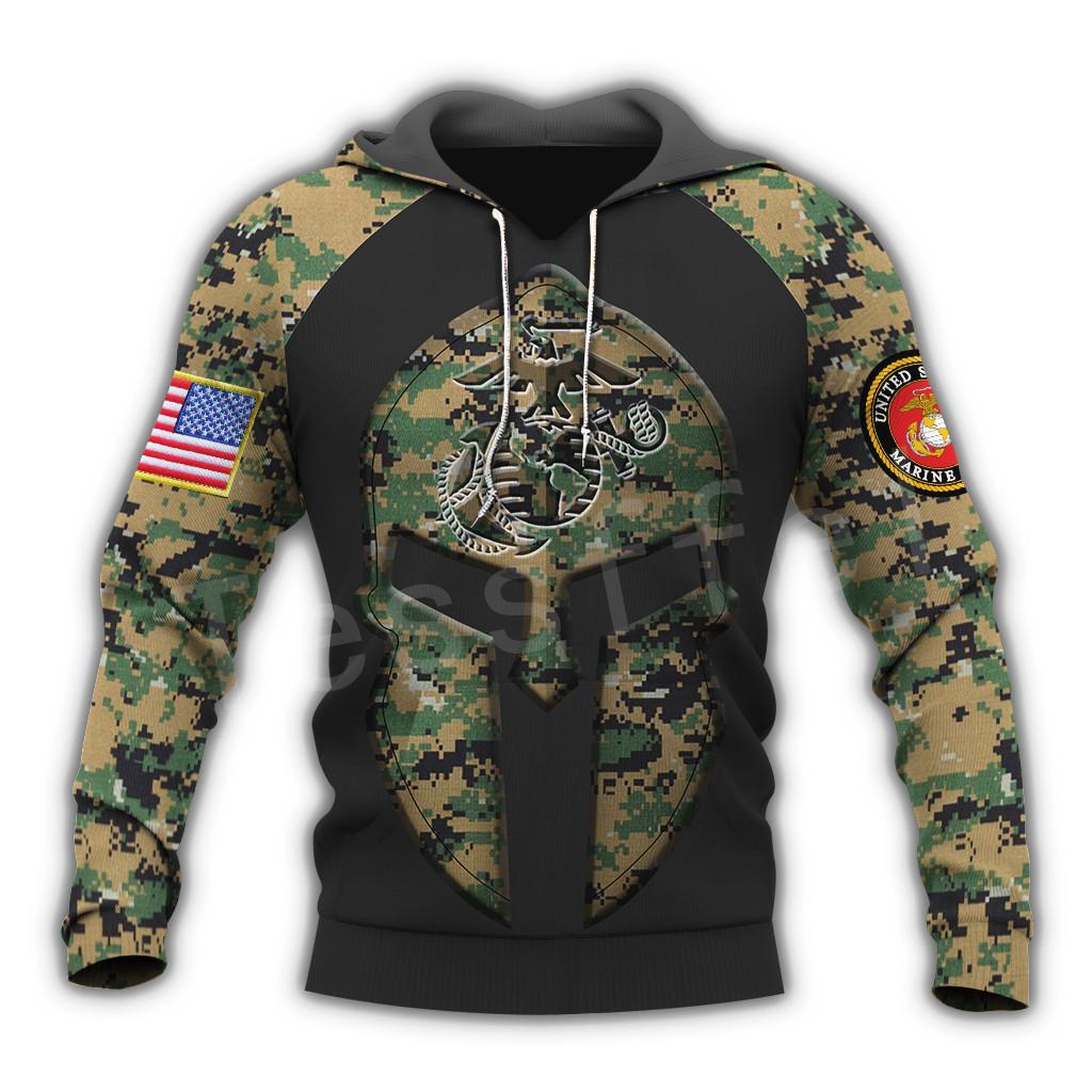 Tessffel Amérique Marine Camo Skull Pull soldat de l'armée NewFashion Harajuku IMPRESS3D Zip / Sweat / Sweat-shirt / veste / Hommes / Femmes B-13 T200914