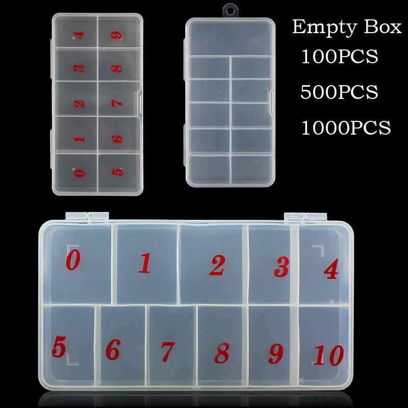 100ピース500ピース1000ピースの空の箱の空の収納容器の誤ったヒントラインストーンネイルアートマニキュアツールの部門10セル宝石