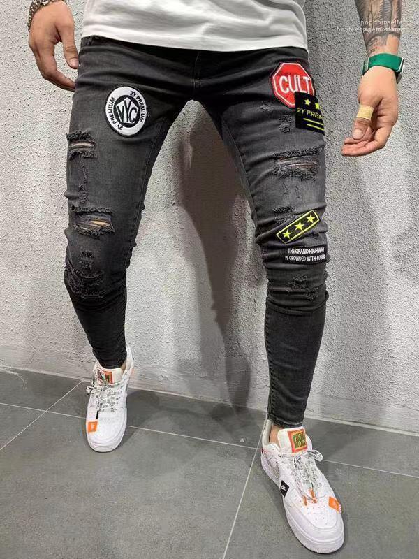 Longue Slim Fit Pantalones Automne Nouveau 19SS Jeans Printemps Automne Mens Designer Pantalons Crayon