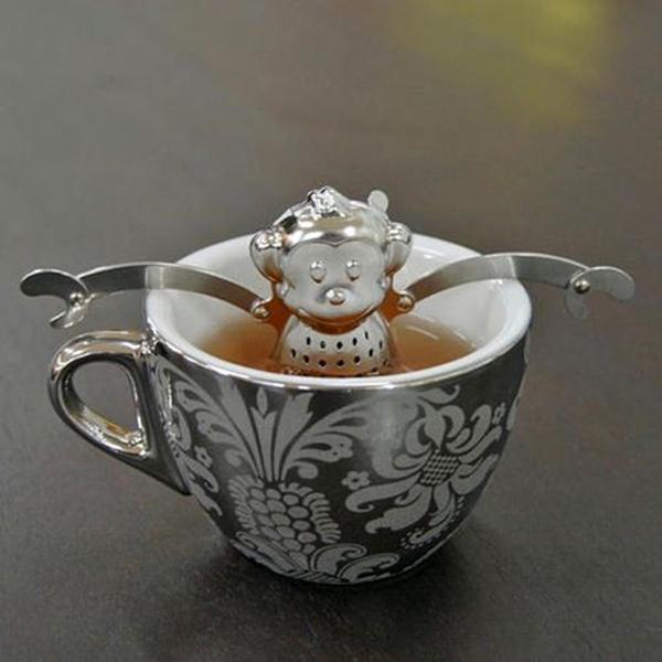 50pcs New Tea Monkey 304 Stainless Steel Cute Tea Infuser Monkey Design With Saucer Mini Monkey Tea Strainer