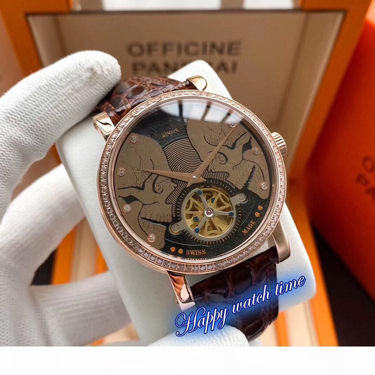 High version 5207G-001 Double-Sided Skull Dial Rose Gold Steel Case Automatic Mechanical Movement Mens Watch Black Leather Strap Watches