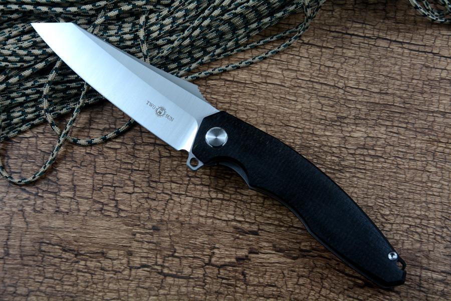 TwoSun الصيد بقاء سكاكين التكتيكية TS-27 g10 نسخة d2 بليد أضعاف سكين للهدايا 2 الألوان