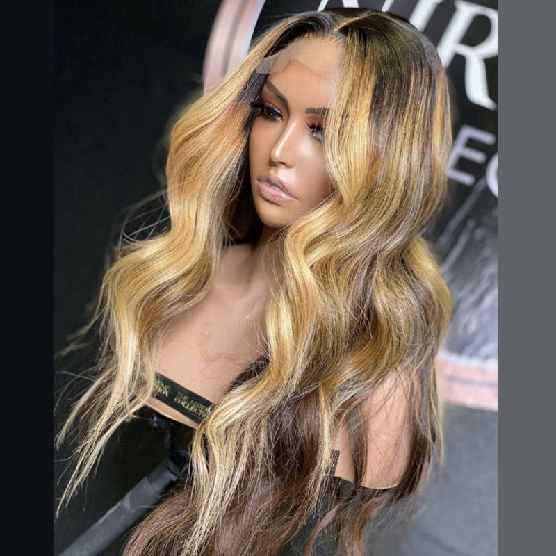 Miel Rubia de reflejo Ombre Body Wave WIG Brasileño 13x6 Frente de encaje Pelucas de cabello humano para mujeres negras P4 / 27 Pelucas de pelo humano de color