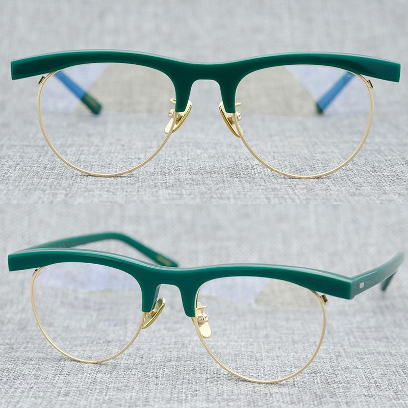 Zerosun Зеленых очков Frames женщина дама овальный Semi Rimless Мужчины очки Женщина Мужчины Урожай Мода очки для оптического объектива
