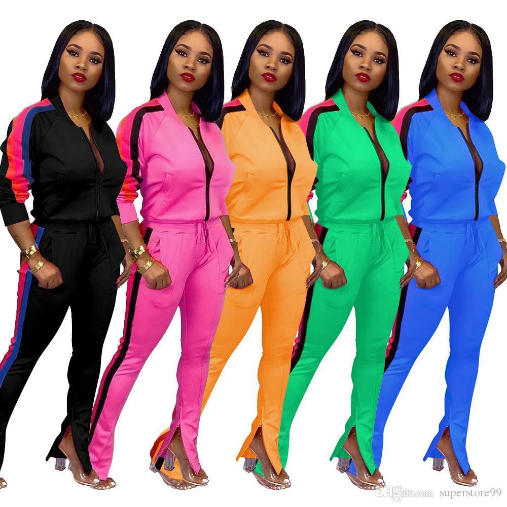 Активная одежда Лоскутная Женщины двухкусочный Эпикировка Cut Out Sleeve Zipper Top щелевая Flare брюки пот костюмы Спортивный костюм Фитнес Outfit set042