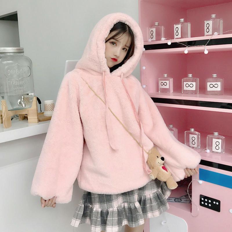 Japonês Kawaii Harajuku Hoodie Mulheres Sólidos Brasão Estilo coreano camisola Outono Meninas de Inverno suave Plush bonito solto Outwear Tops T200917