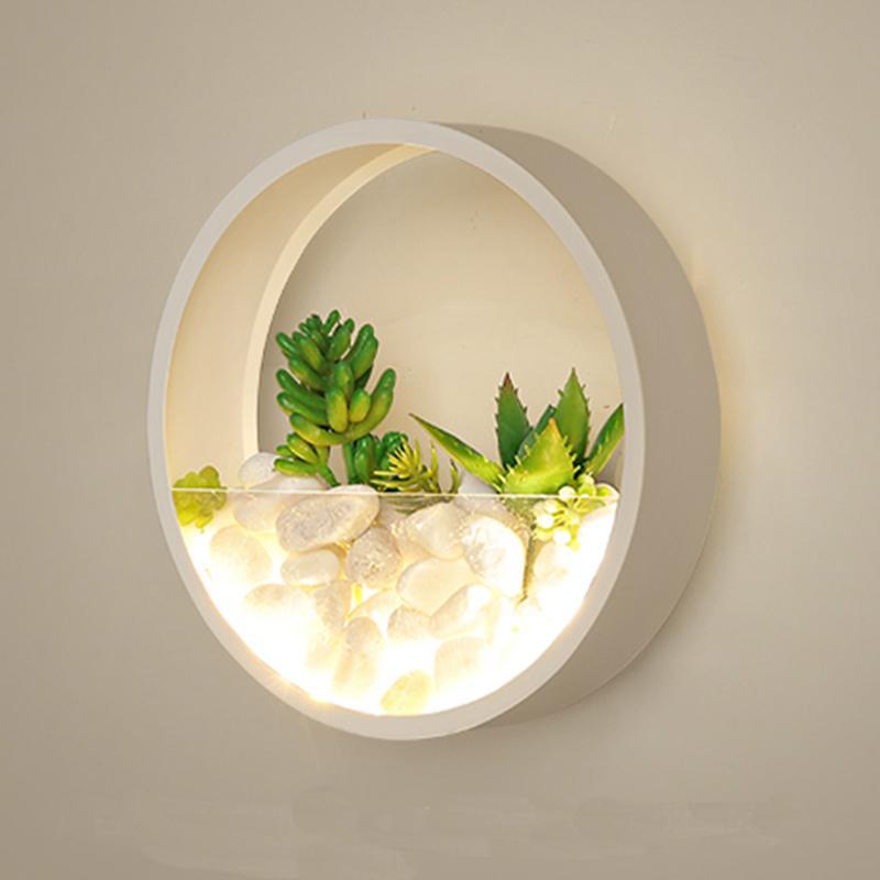 현대 공장 LED 벽 램프 침실 침대 옆 장식 금속 벽 보루 화이트 블랙 라이트 라운드 인공 꽃 스톤
