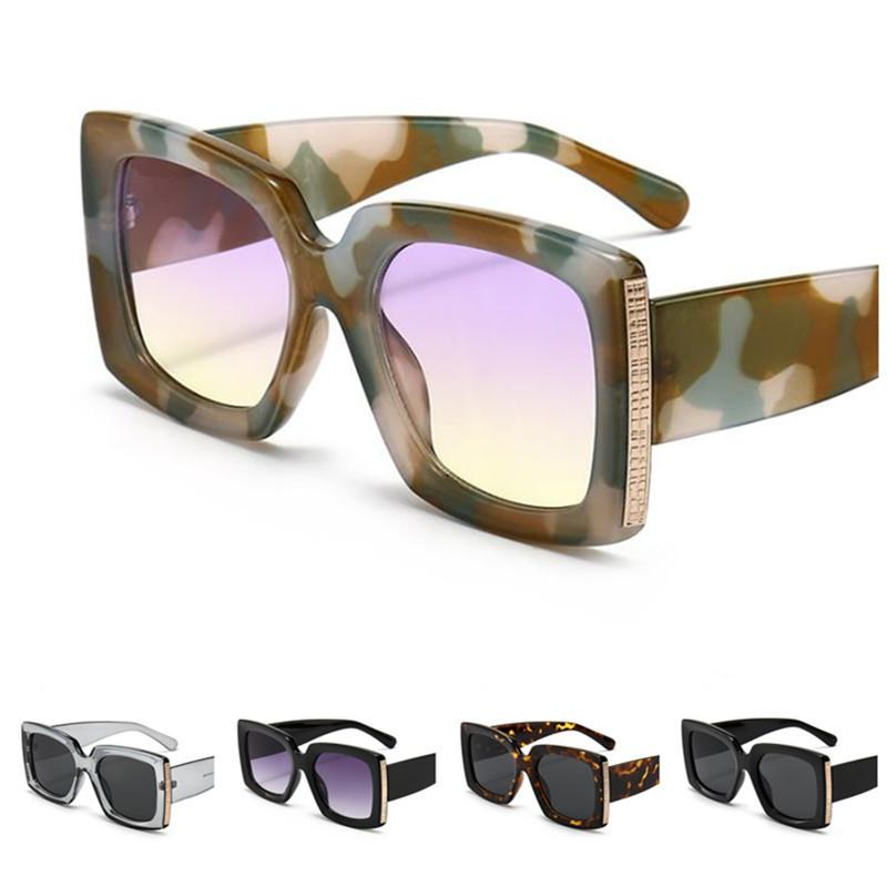 A ++ Women Frame Glasse Gafas PERSONALTISTA Camuflaje Gafas de sol Oversizy Goggles Anti-UV Sun Men Spectacles Moda ornamental HHGNF