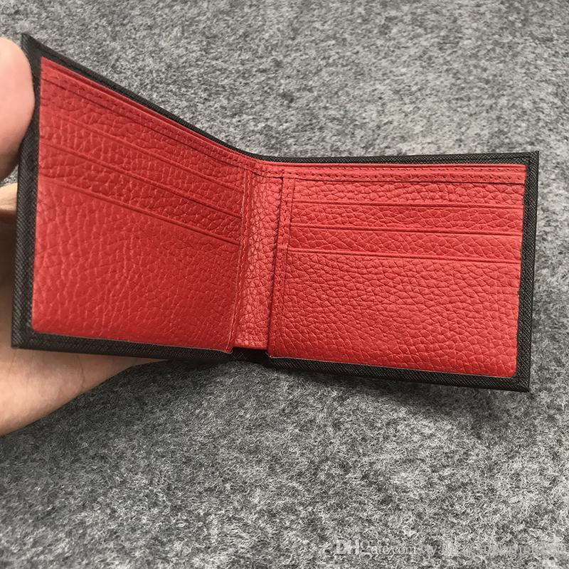 Caixa do titular do cartão da bolsa de poeira da moeda da moeda da bolsa do esterno do cartão do desenhador de carteira LADET LEADS BOLSA de alta qualidade Moda dos homens vermelhos LJTMJ