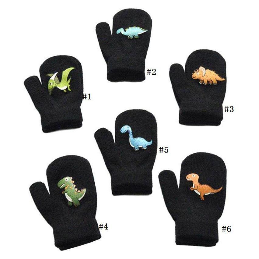1-5Y Bebek Erkekler Kızlar Kış kalınlaştırmak Eldiven Isıtıcı Fleece örgü Eldiven Sevimli Karikatür Dinozor Desen Tasarımcılar Bobby Çocuk Eldiven F91101