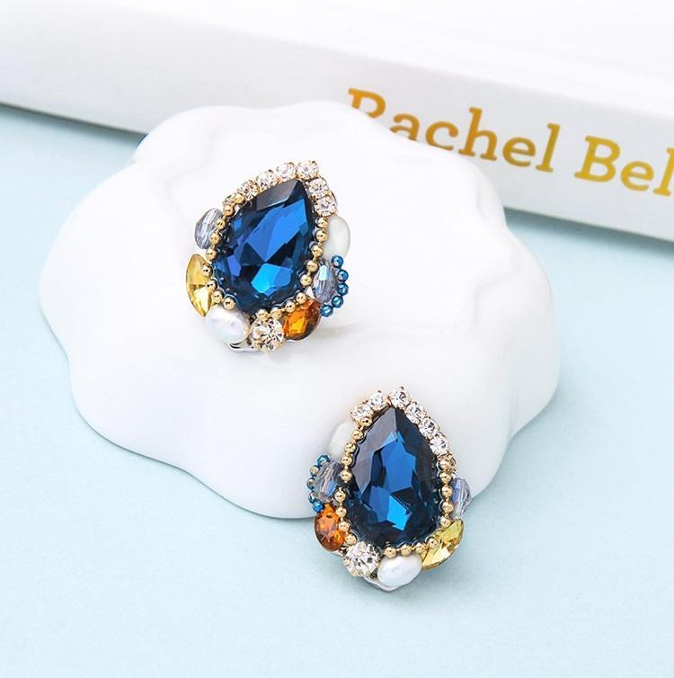 Trendy Schmuck Hübsche blaue Kristallbolzen-Ohrring-Dame Kleine Ohrclips Ohrring