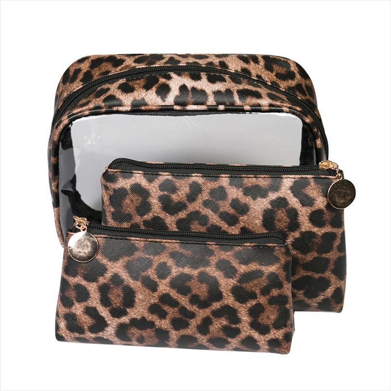 Titular de leopardo Viajes de viaje Bolsa de aseo Labios de lápices de labios Caso de almacenamiento PVC Cosmético Impermeable Maquillaje para mujer Organizador de belleza Accesorios AIUMF