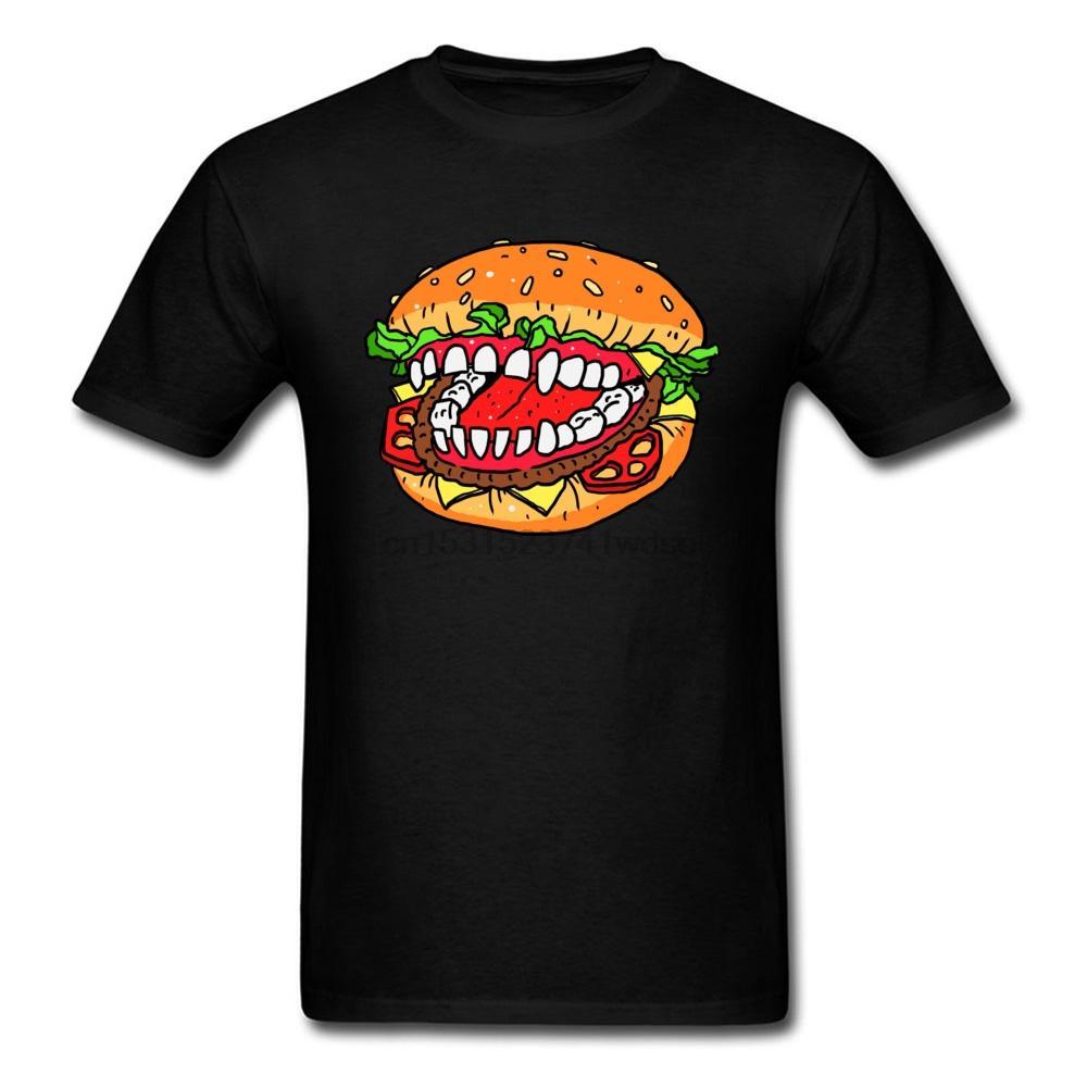 Devil Sandwich Hamburger T-Shirt Men T Shirt Burger Tshirt Summer Clothes Cartoon Tops Cotton Tees Crazy Monster Suit(1)