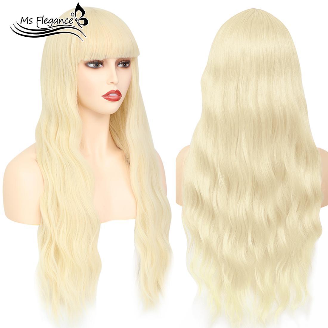 Lunga parrucca Water Wave sintetico di MS FLEGANCE Donne parrucca per le donne fascino Capelli biondi Topper Lolita Cosplay capelli naturali