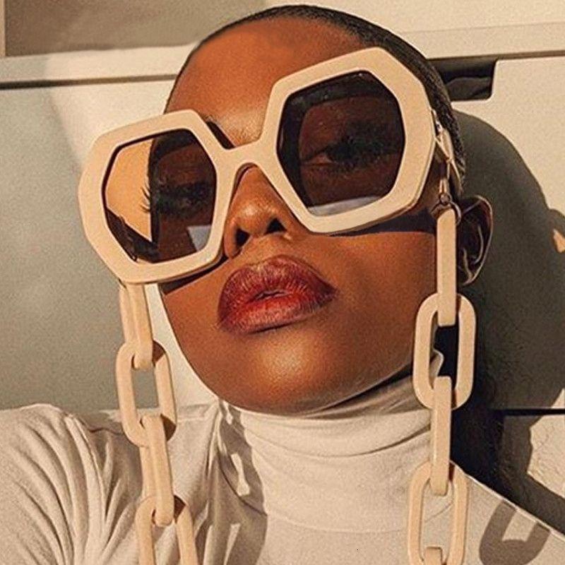 Chic Vintage Poligono catena degli occhiali da sole delle donne del nuovo di modo oversize Hexagon Sun Glasses punk femminile Eyewear Uomini Shades S309