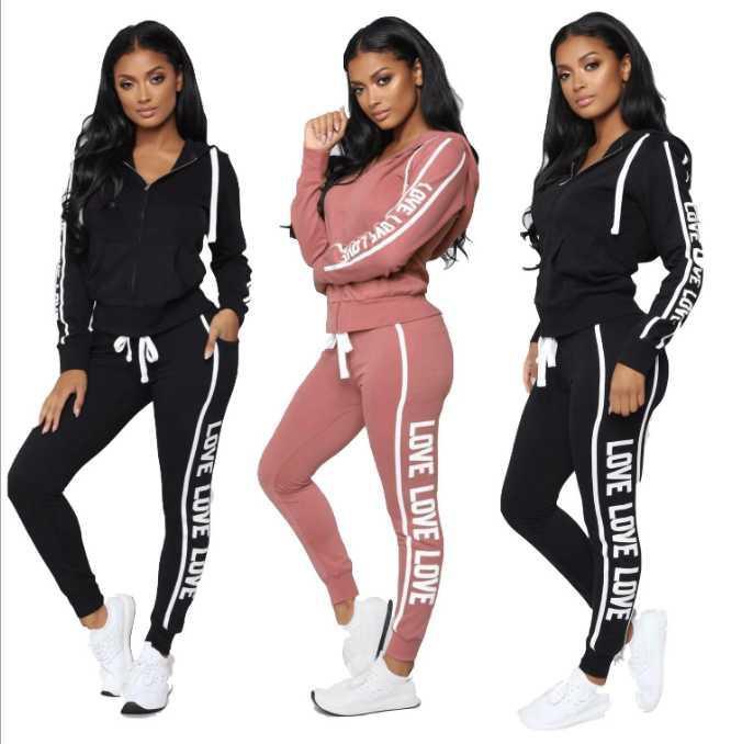 Eşofman Kadınlar 2020 Weat Suits Sonbahar Yeni Bayan Eşofman Jogger Takım Elbise Ceket + Pantolon Setleri Spor Takım Elbise Baskı Erkekler Pamuk