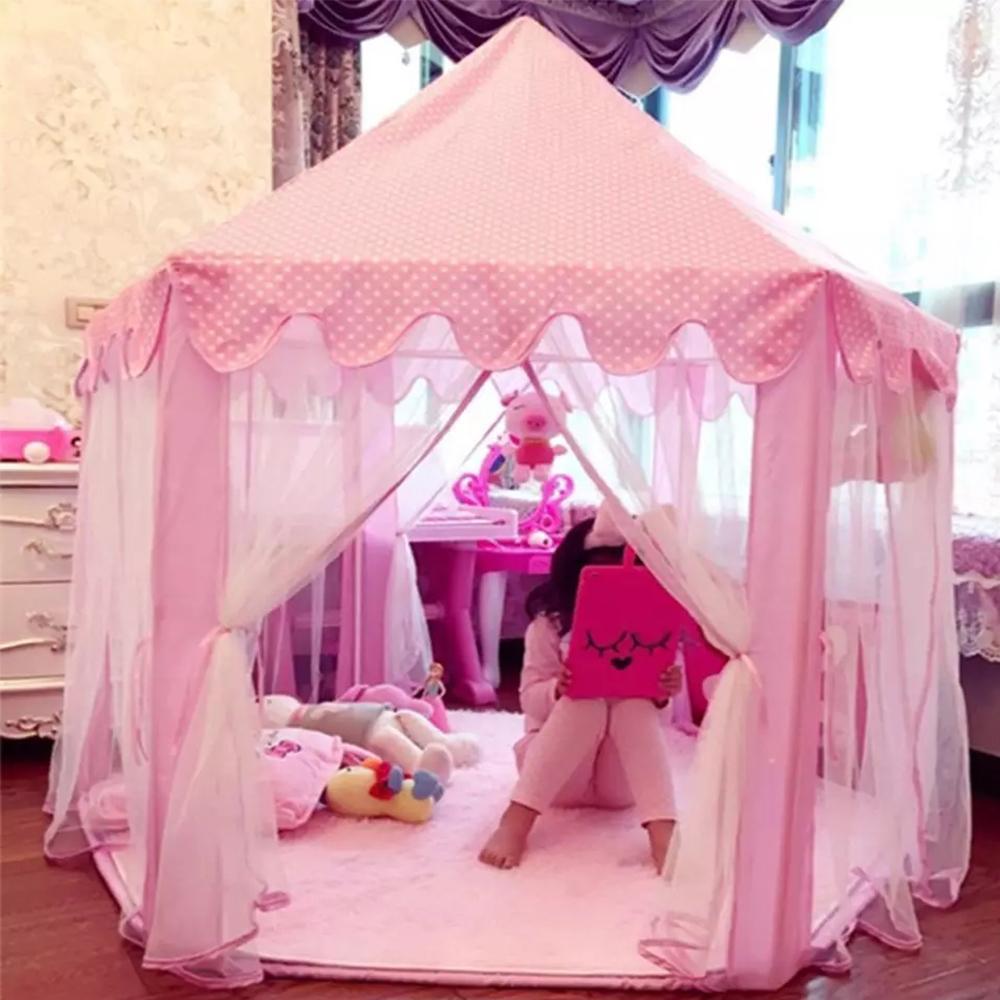 Children Princess Pink Castle Tents Portable Boys Girls Indoor Outdoor Garden Folding Play Tent Lodge Kids Balls Pool Playhouse LJ200923