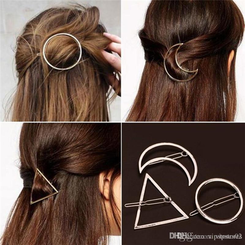 Punk Hohle Mond Dreieck-Haar-Klipp-Schmuck Gold-Silber überzogene Lippe Kreis Geometrie Haarpin Rand-Klipp-Haar-Zusätze für Frauen