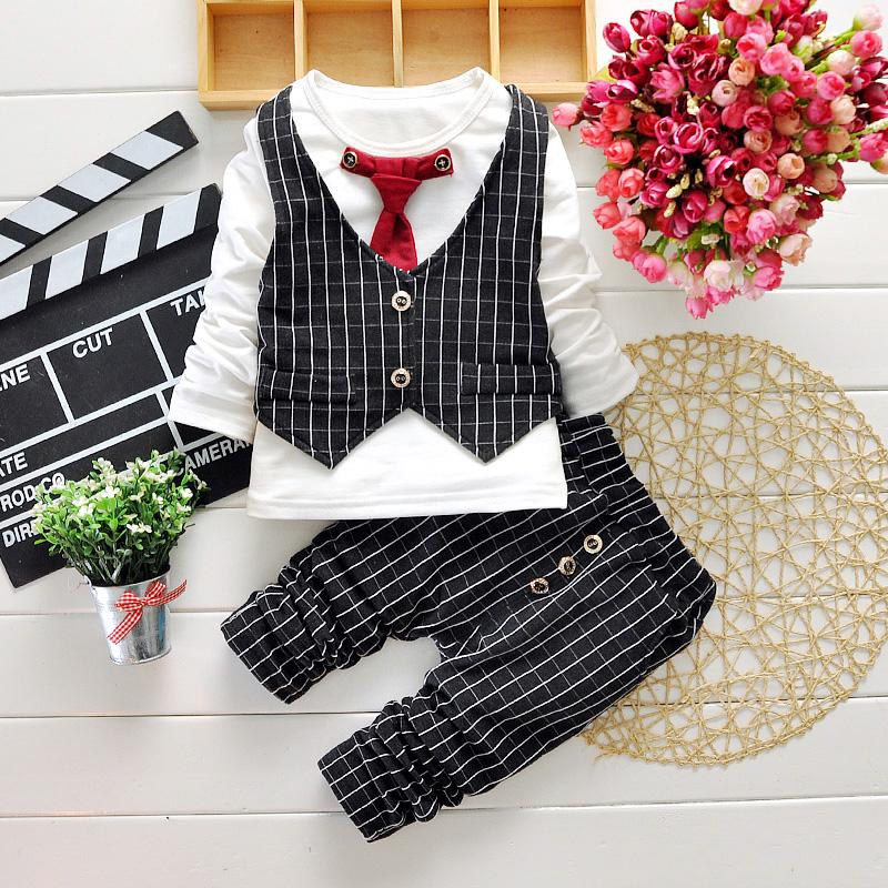 Mode-Kind-Baby-Jungen-Kleidung Outfits Sets Tops + Hosen-Kind-Jungen-Baumwollbeiläufige Kleidung Elastic Waist Hose
