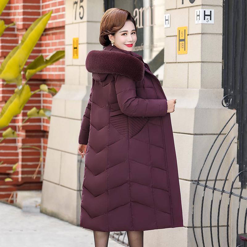Высокое качество Зимняя куртка Женская Твердая Большой размер X-давно Женский Parka Теплый сгущаться пальто Тонкий с капюшоном с меховой воротник Шинель
