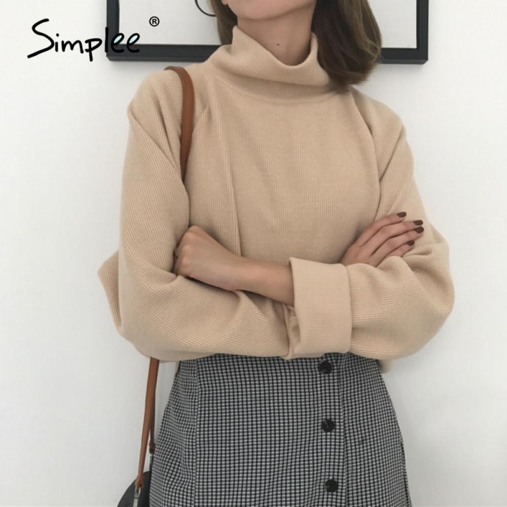 Simplee Casual gevşek Düz renk yüksek yaka yumuşak kadın Kazak Ofisi moda kadın kazak sonbahar 200.921 kazak örme