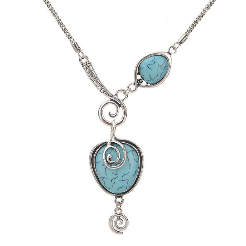 Ожерелья подвеска Этнические стиль Винтажное ожерелье для женщин Богемский преувеличенный темперамент нерегулярный геометрический синий камень