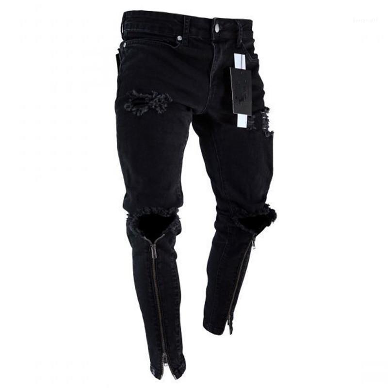 Yıkanmış Denim Mavi Pantolon Erkek Jeans Elastik Bel Erkek Giyim İlkbahar Jogger Pantolon Stretch Moda