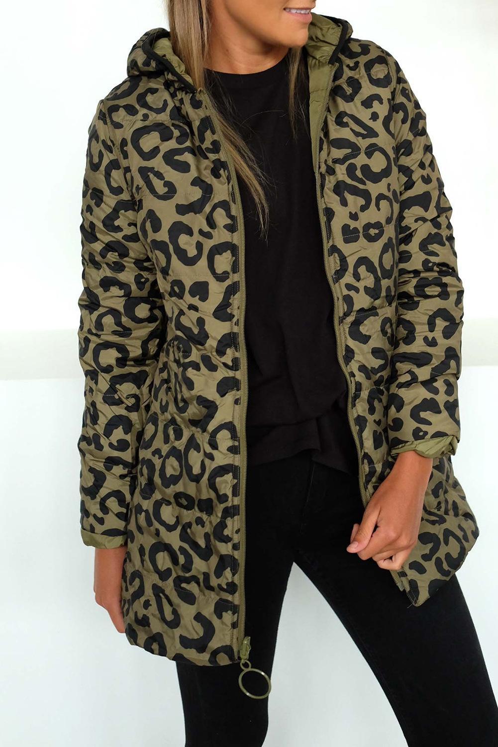 Mujeres Lepard impresos rellenados Parkas 2020 chaqueta de la capa de moda de invierno frío con capucha de Down Parka cremallera Ambos Lados-Básico Outwear T200917