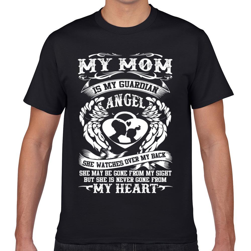 Tops camiseta de los hombres mi madre está mi ángel de la guarda Diseño Friki Negro masculinos de encargo camiseta XXXL