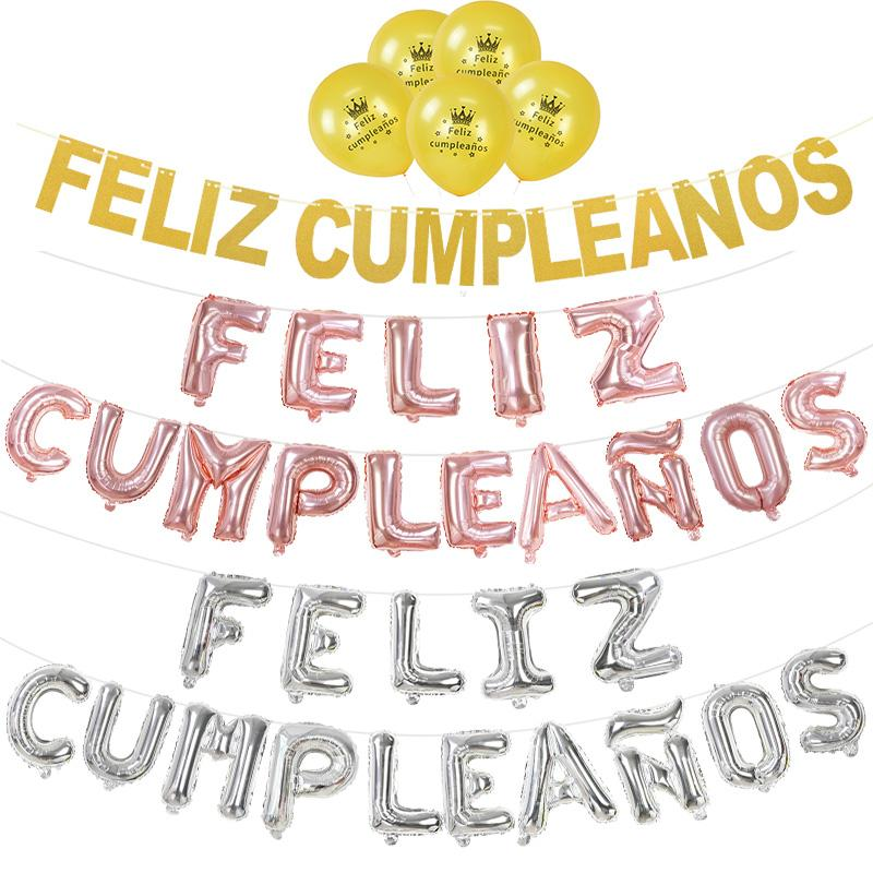 دش عيد ميلاد سعيد الأسبانية راية العلم جولة رسالة فيليز Cumpleanos احباط بالون اطفال اطفال عيد ميلاد الحزب الديكور بالون