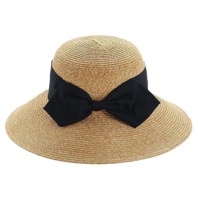 todo-fósforo mar sombrero para el sol plegable mismo estilo del verano de las mujeres del arco del sombrero de paja japonesa Corea del estilo de la mariposa Vzdxz Sun Li paja