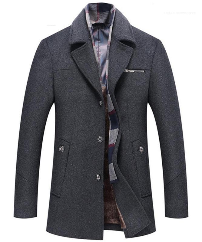 Herren Wollmäntel beiläufige Taschen-Männer Kleidung Panelled Herren Designer Woll Jacken Mode Schlank Einreiher