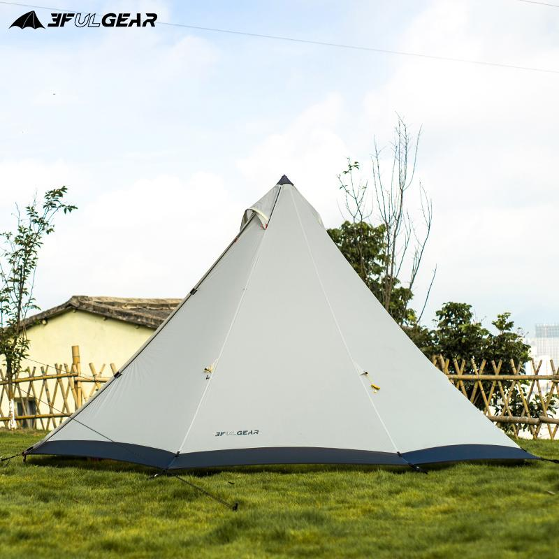 3F UL Gear Large Space Pyramid Tipi Tent For 4-6 Persons Waterproof Windproof Camping Tent With Snow Skirt Family 210T/40D