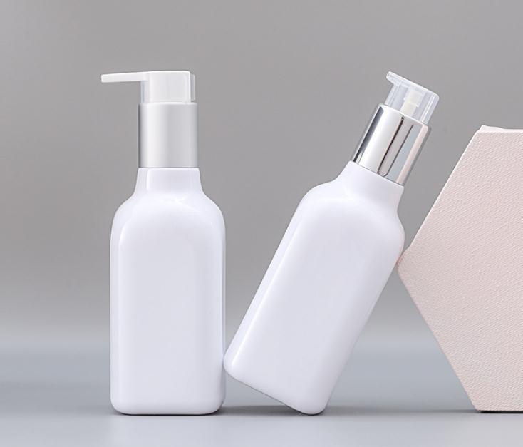 200 ml Cuadrado blanco bomba cosmética botella vacía de ducha Champú Loción Gel de contenedores de plástico botella de empaquetado SN1489