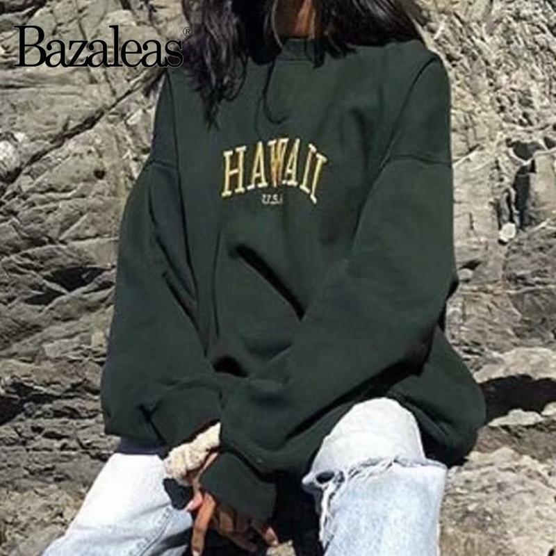 Hawaii Bazaleas moda verde bordado de manga larga mujeres de la camiseta del o cuello de las mujeres suéter flojo sudaderas T200914