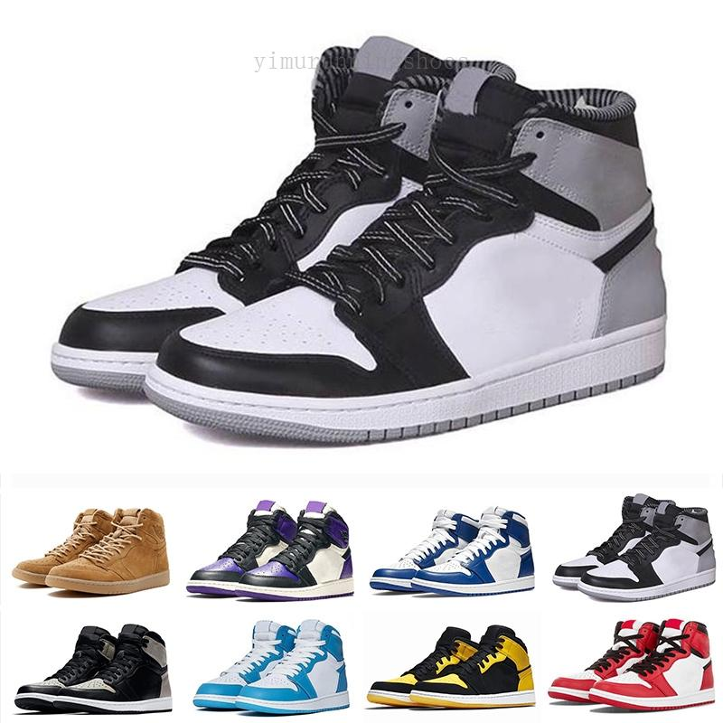 1 AJ1 Retro Jumpman 1 1s alta OG Mid fumaça cinza luz proibido Chicago dedo do pé real sapatos Mens Basketball pálido Marfim mulheres tribunal roxo Sneaker Tra
