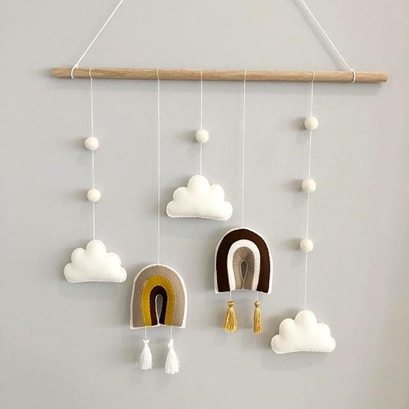 Радуга Гобелен для детской комнаты Декор стены висячие украшения ручной Knotted кисточкой Boho Home Decor мяча Облако Войлок Ткань Гобелены