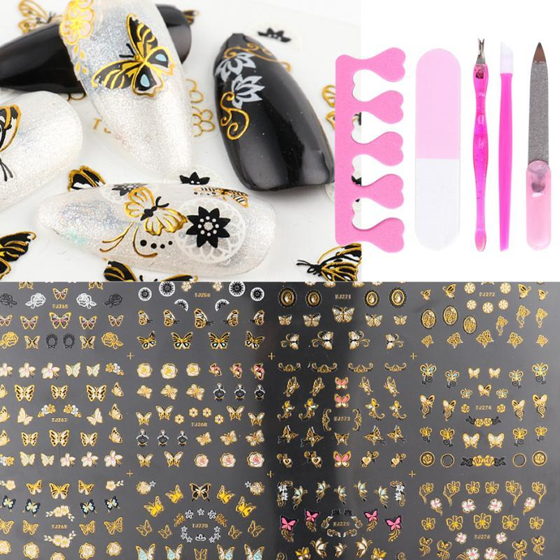 Black Gold Nail Art Stickers Set 3D Flowers Leaf Butterfly Decals Slider Wraps Tips Tattoos Manicure Decor DIY Nail Tools TR1811