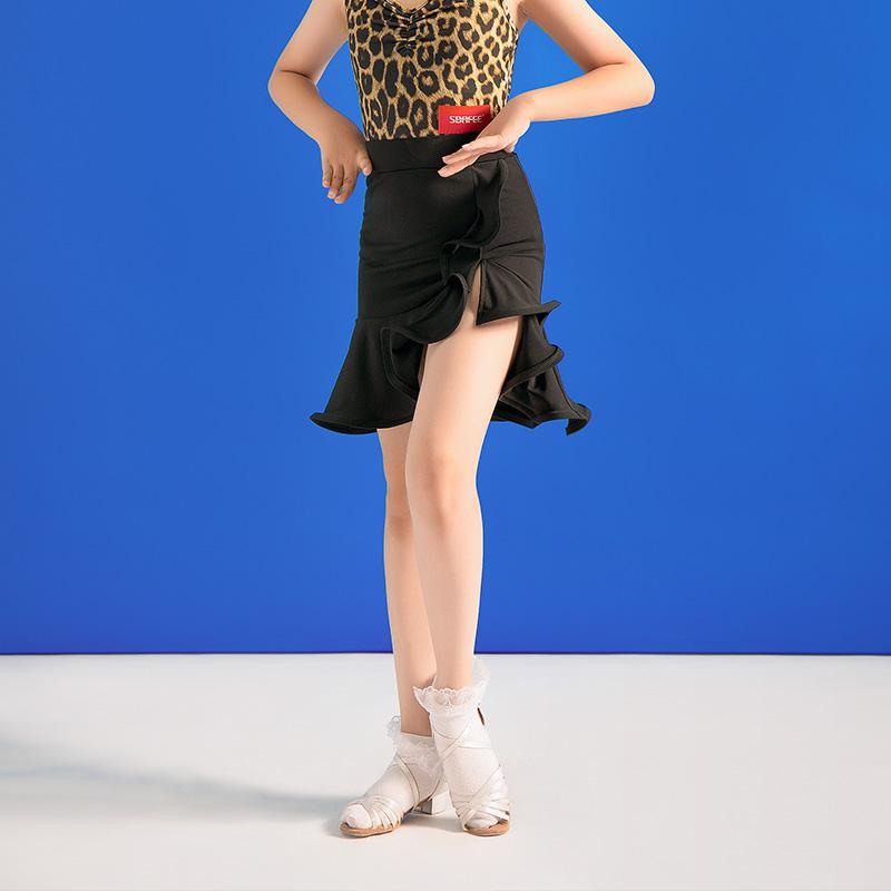 Латинские танцы Юбка Для детей Леопард / Черный Practice Одежда Latin конкурс костюмы Румба Танго Сальса Самба танцевальная одежда VO1293